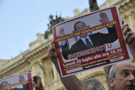 A rally is held in front of the Court of Cassation of Rome in view of the Mediaset lawsuit that sees Silvio Berlusconi accused of tax fraud. Western Europe