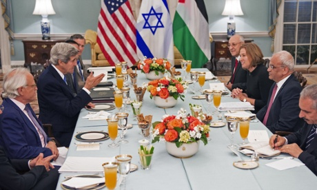 US secretary of state John Kerry (centre-L) hosts dinner for the Middle East peace process talks in Washington DC.