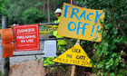 Protesters' placards at the entrance to Cuadrilla's drill site in Balcombe
