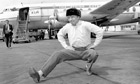 Tommy Steele performs a 'traditional Russian dance'  at Heathrow on his return from Moscow.