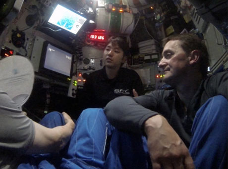 Jon Copley inside the Shinkai6500 deep-sea submersible
