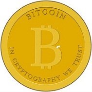 Bitcoin with one of the virtual currency community's suggested slogans: in cryptography we trust