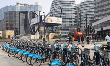 'Boris bikes' parked in east London