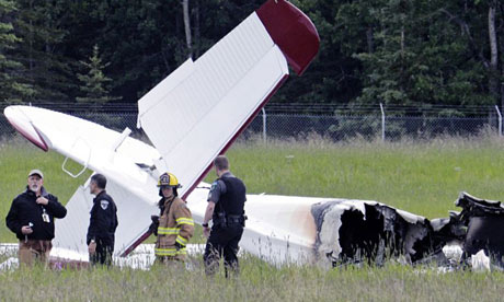 The remains of the plane that crashed in Alaska.