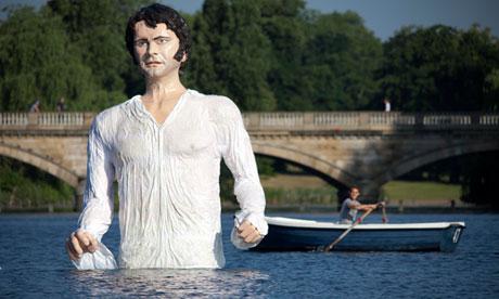 A statue of Jane Austen's romantic hero Mr Darcy in The Serpentine