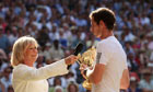 Andy Murray speaks to Sue Barker after his Wimbledon win