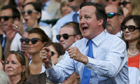 David Cameron cheers on Andy Murray during the Wimbledon men's final