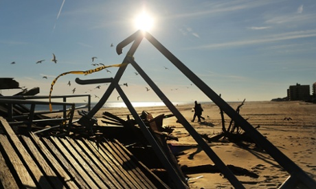 Boardwalk remains in Queens borough of New York City after superstorm Sandy