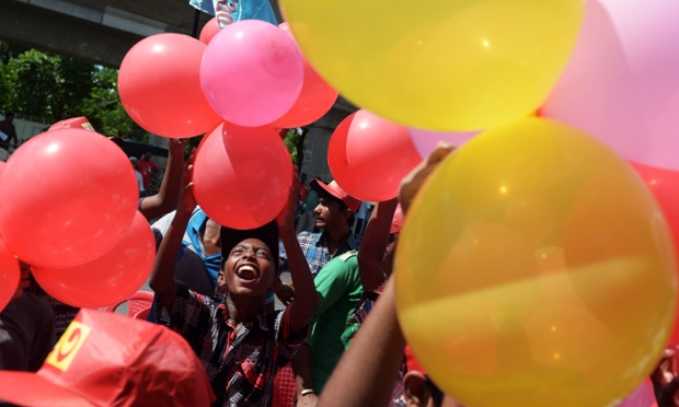 Schoolchildren play with balloons during a function honouring Jyoti Basu's birth centenary in Kolkata, India. Basu was the Chief Minister of the Left Front government of West Bengal state from 1977 to 2000, a position he held continuously for a record 23 years making him the longest-serving Chief Minister of any state of India.