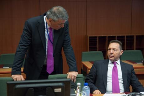Greek finance minister Yannis Stournaras at Eurogroup meeting.