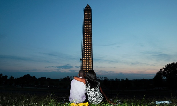 The newly lit Washington Monument. The National Park Service will light the monument each night at dusk while it undergoes repairs from the 2011 earthquake.