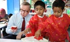 Michael Gove visits a school