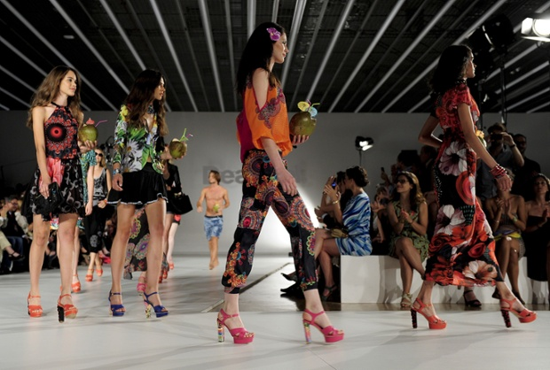 Models present creations by Desigual during the 080 Barcelona fashion show in Barcelona.