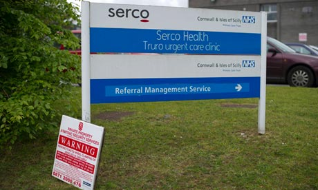 A Serco Health sign