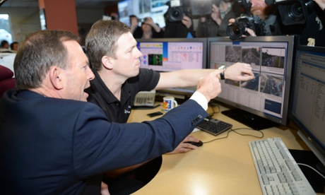 Tony Abbott during a visit to the Traffic Management Centre in Melbourne, Monday, Aug. 12, 2013.