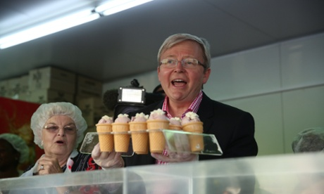 The Prime Minister Kevin Rudd serves ice creams at the Brisbane Show.