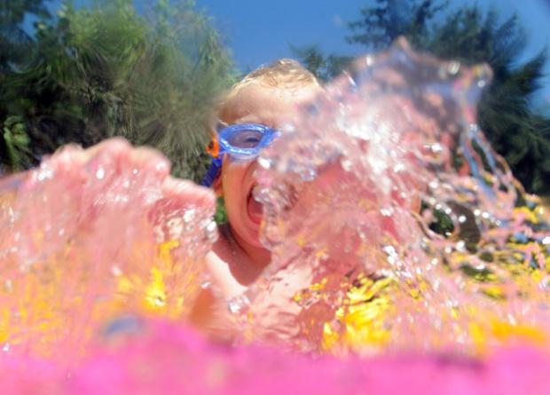 Three year old david plays in a pool in karlsruhe germany - Pool karlsruhe ...