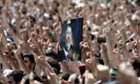 A poster of Egypt's ousted president Mohamed Morsi is held up by a protester