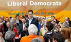 Leader of Britain's Liberal Democrats Clegg speaks to supporters during campaigning in Warrington