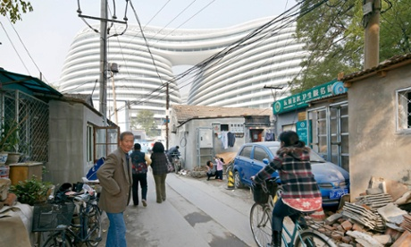 Galaxy Soho looms in the background of neighbouring hutong streets.