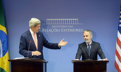 Secretary of State John Kerry meeting Brazil's Antonio Patriota, 2013
