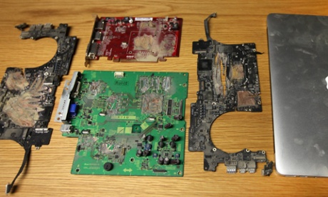 The remains of a Macbook that held information leaked by Edward Snowden to the Guardian and was destroyed at the behest of the UK government.