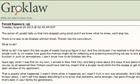 A screenshot of the Groklaw website