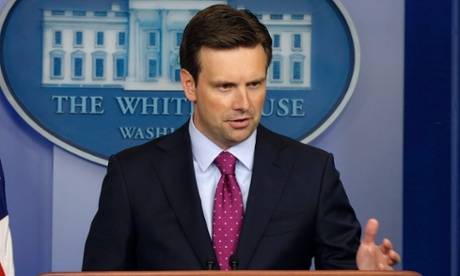White House principal deputy press secretary Josh Earnest answers questions during his daily news briefing at the White House.