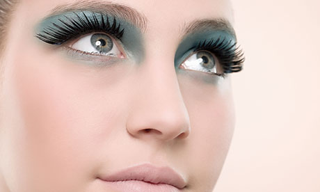 Woman wearing false eyelashes