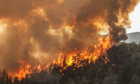 A wildfire rages in Buck Meadows, in the Yosemite National Park
