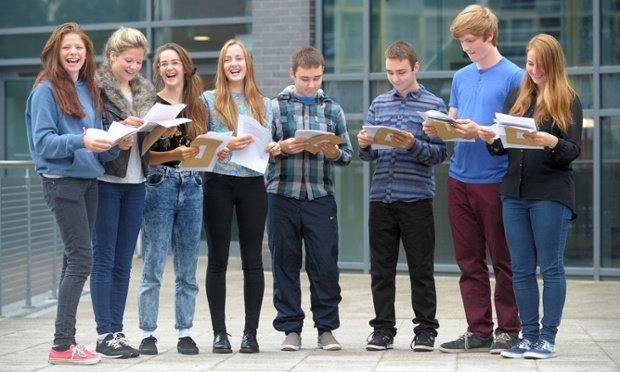 Left to right: Minnie and Tallulah Crawley, Florence and Dorothy Hislop, George and Sam Price and Marcus and Charlotte Hook, open their GCSE results at St Mary Redcliffe and Temple in Bristol. Tim Ireland/PA Wire