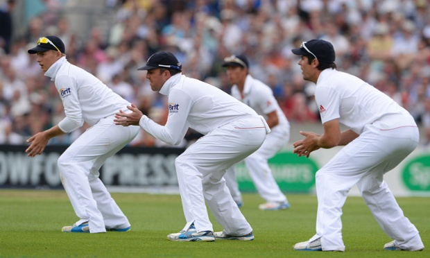 The England slip cordon waits; that's what it does.