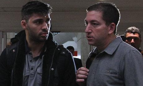 David Miranda and Glenn Greenwald at Tom Jobim airport, Rio de Janeiro