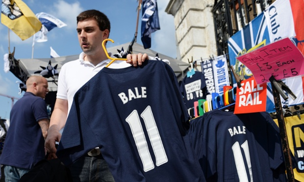 Cut-price Gareth Bale merchandise is offered outside White Hart Lane before Tottenham's win over Swansea on Sunday.