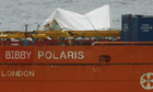Salvage vessel Bibby Polaris transports part of the fuselage of Super Puma helicopter