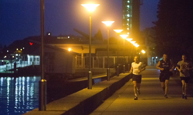 Tony Abbott during an early morning run on the foreshores of Newcastle Harbour on 27 August 2013.