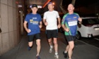 Bill Glasson (left) on a morning run with Tony Abbott and Queensland premier Campbell Newman.