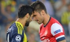Bekir Irtegun of Fenerbahce and Arsenal's Olivier Giroud get to know one another in the first leg.