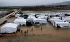 Syrian refugee camp in Lebanon border town