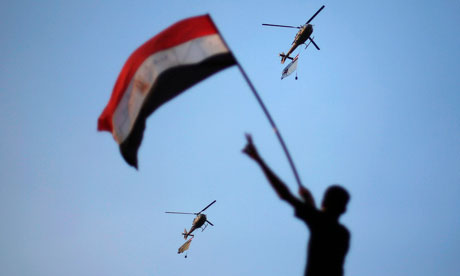 Military helicopters over Cairo