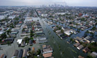 An aerial view of the devastation caused by Hurricane Katrina in New Orleans, Louisiana