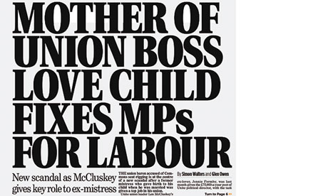 A Daily Mail front-page splash