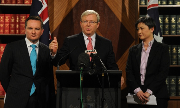 Prime Minister Kevin Rudd (centre), Treasurer Chris Bowen (left), and Minister for Finance Penny Wong address the media during a press conference at the Parliamentary offices in Melbourne, Thursday, Aug. 29, 2013.