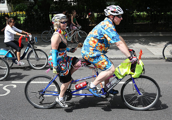 RideLondon: Cyclists on a tandem take part in the Freecycle event