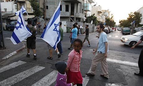 Tel Aviv residents protest against African migrants in their neighbourhood in 2012.