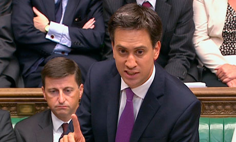 Ed Miliband is seen addressing the House of Commons in this still image taken from video in London