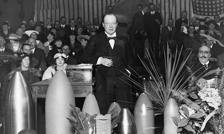 Winston Churchill speaking at a munitions factory in Ponders End, 1916.