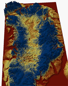 3D visualisation of the canyon under Greenland's ice sheet.
