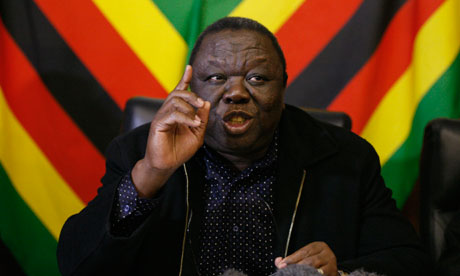 Movement for Democratic Change (MDC) Morgan Tsvangirai speaks at a media conference in Harare