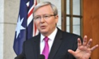 Australia's Prime Minister Kevin Rudd addresses the media.